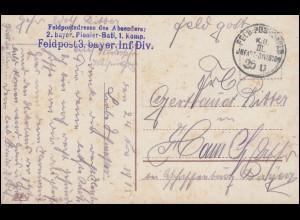 Feldpost 2. bayer. Pionier-Batl. 1. Komp. 25.11.1915 auf Propaganda-AK