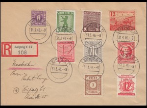 9ff SBZ-Frankatur mit AM-Post-Marke in MiF auf Orts-R-Brief LEIPZIG 31.3.1946