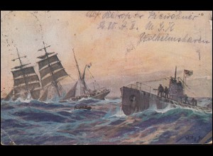 Propaganda-AK U-Boot versenkt französische Bark, WILHELMSHAVEN-RÜSTRINGEN 1923