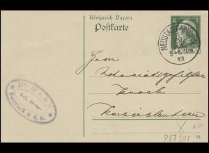 Bayern Postkarte 5 Pf. Notar aus NEUSTADT/Haardt 29.7.13 nach Kaiserslautern