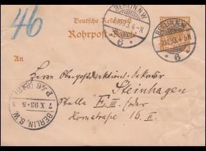 Rohrpost-Karte RP 8 Adler 25 BERLIN N.W. 6 - 7.10.93 n. BERLIN P 46 (R 18) 7.10.