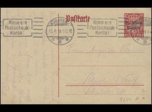 Bayern Postkarte 10 Pf. Volksstaat NÜRNBERG - Nimm ein Postscheckkonto - 15.8.19