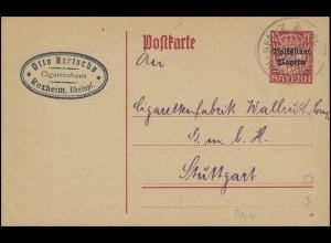 Bayern Zigarrenhaus in ROXHEIM-PFALZ 30.9.19 an die Zigarettenfabrik Stuttgart