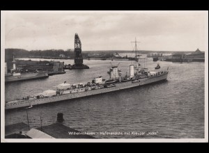 AK Wilhelmshaven Hafenansicht mit Kreuzer KÖLN, Orts-PK WILHELMSHAVEN 16.9.1939