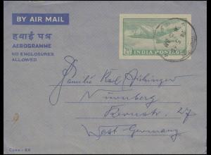 Indien Aerogramm Propellerflugzeug 50 N.P. grün am 24.3.60 nach Nürnberg