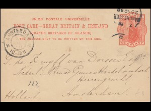 Großbritannien Postkarte P 26 Königin Viktoria, MANCHESTER 25.11.98 n. AMSTERDAM
