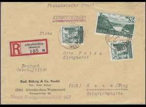 4+14 Rheinland-Pfalz 2x12 + 84 Pf R-Brief ALTENKIRCHEN 6.11.47 nach HAMM 7.11.47