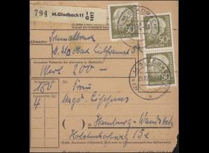 261 Heuss 50 Pf. MeF 3mal auf Paketkarte MÖNCHENGLADBACH 29.10.59 nach Hamburg