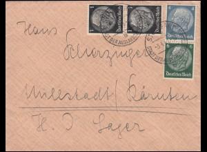 Hindenburg-Zusammendruck S 215 mit 4+6 Pfennig MiF Brief STUTTGART 3.4.41