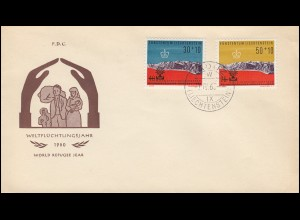 Liechtenstein 389-390 Weltflüchtlingsjahr 1960 Satz auf Schmuck-R-FDC VADUZ 7.4.