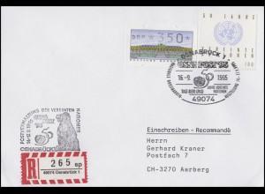 1804 UNO + SchWZD-ATM MiF R-Bf SSt Osnabrück Tag der UNO OSNAPOST 16.9.95