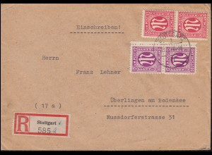 7+8 AM-Post als MiF R-Brief STUTTGART 21.1.46 nach ÜBERLINGEN (BODENSEE) 27.1.46