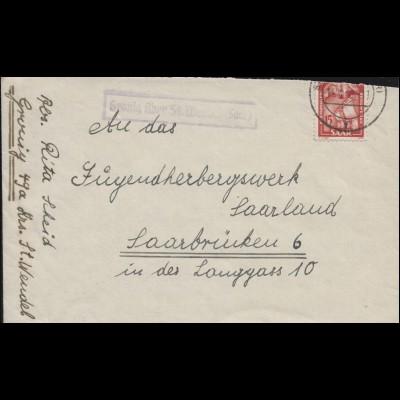 Landpost Gronig über ST. WENDEL 14.11.1950 auf Brief nach Saarbrücken