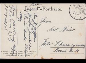 DEUTSCHE MARINE-SCHIFFSPOST 24.5.17 als Feldpost auf AK Kapitänleutnant Wddigen