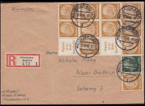 Hindenburg-ZD S 178 im 12er-Block mit Zusatzfr. R-Bf WIESBADEN-BIEBRICH 17.10.41