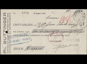 Niederlande Zahlschein OMMEN 3.4.25 von Groningen 4./7.4.1925 & roter Z-Stempel