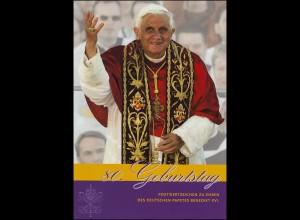 Post-Edition: 80. Geburtstag Papst Benedikt XVI. 1927-2007, mit 5 Marken 2007 **