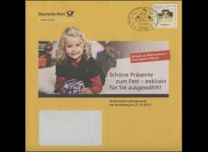Plusbrief Postkutsche 145 Cent: Weihnachten 2011, SSt Himmelpfort 21.11.2011