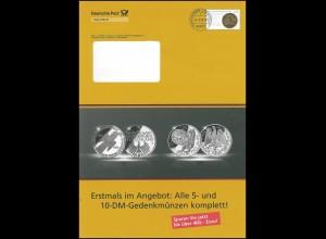 Plusbrief F406 Goldene Bulle: Alle 5- und 10 DM-Gedenkmünzen, 9.2.09