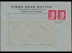 Luxemburg Hitler-MeF 2x12 Pf Fensterbf. Fa. Mattes Industrie ESCH-ALZIG 18.12.42