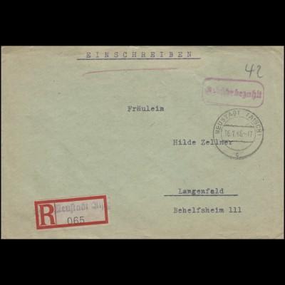 Gebühr-bezahlt-Stempel R-Bf Not-R-Zettel NEUSTADT / AISCH 16.1.46 n. Langenfeld