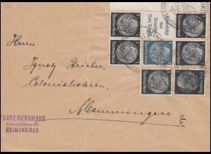 Hindenburg-ZD S 214 und S 174 als Bogenteil auf Brief SSt HEIMENKIRCH 27.11.40