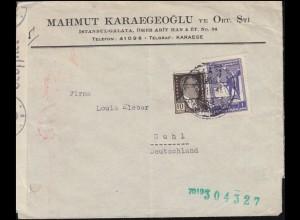 Zensur Oberkommando der Wehrmacht g auf Türkei-Brief GALATA 1941 nach Suhl