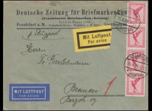 379 Flugpost Adler als MeF auf Luftpost-Brief der DBZ, FRANKFURT/MAIN 31.8.29