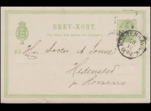 Dänemark Postkarte P 28IIa Wappen im Oval 5 Ore grün KOPENHAVN 20.12. n. Horsens