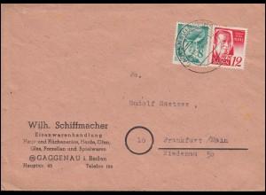 Franz. Zone Baden 16+18 Freimarken MiF auf Brief GAGGENAU (MURGTAL) 30.11.1948