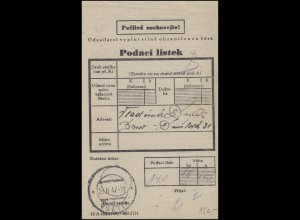 Tschechei Einlieferungsschein mit aptierten Stempel VSETIN 27.2.47