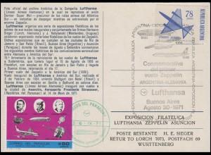 Ansichtskarte Lufthansa Buenos Aires 30.8.1971 + SSt. Ausstellung Paraguay 1971