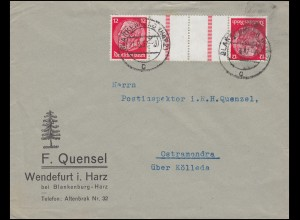 Hindenburg-Zusammendruck KZ 23.2 auf Brief BLANKENBURG (HARZ) 21.3.1937