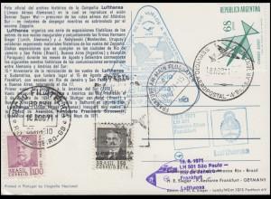Luftpost Lufthansa LH 501 Sao Paulo - Rio de Janeiro - Frankfurt am 18.8.1971