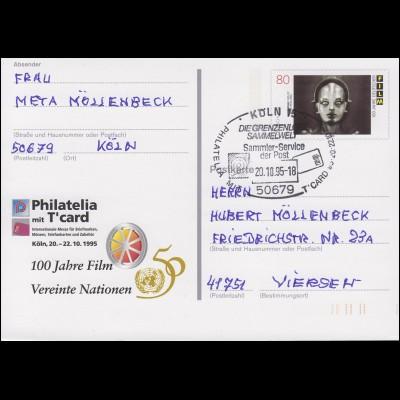 PSo 39 Philatelia Köln mit T'card UNO & 100 Jahre Film SSt Köln Sammeln 20.10.95
