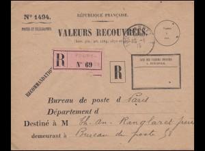 Dienstbrief VALEURS RECOUVREES als R-Brief Not-R-Zettel BOURG-EN-BRESSE 18.1.15