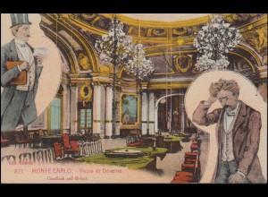 AK Monaco Monte-Carlo Casino-Gewinner und Casino-Verlierer, Werbe-O, 17.2.1928