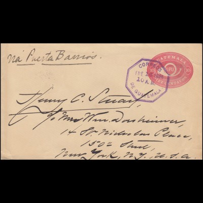 Guatemala Ganzsache Umschlag UPU Posthorn 10 CENTAVOS, GUATEMALA 16.1.1896