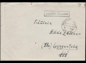 Gebühr-bezahlt-Stempel schwarz auf Brief NEUSTADT / AISCH 21.2.46 n. Langenfeld