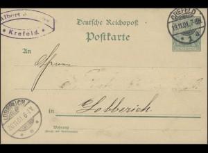Postkarte Germania/Reichspost 5 Crefeld n. Lobberich