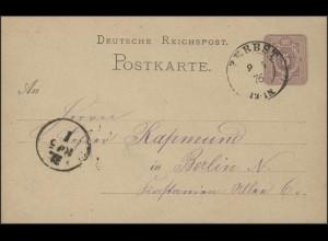 Postkarte Ziffer 5 Pf: Zweikreis-O Zerbst 09.05.1876