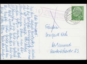 Landpost Fürstenberg über FRANKENBERG (EDER) LAND 17.7.57, AK Schloss Waldeck