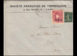 Brief mit Vignette Marschall Joseph Joffre mit Aufdruck USA, PARIS 18.4.18