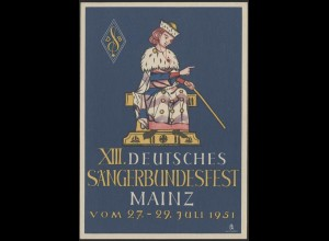 Privatpostkarte PP 1/1b Holstentor Lübeck 10 Pf. - Sängerbundesfest, SSt Mainz