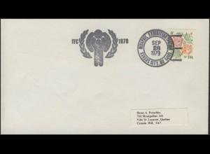USA: Blumen, Brief mit SSt Briefmarkenausstellung MIDAPHIL Kansas