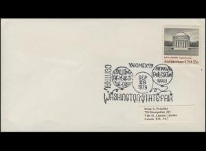 USA: Architektur, Brief mit SSt YAKIMEX'79 Washington