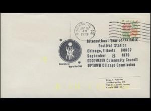 USA: Blumen, Brief mit SSt Festival Station Chicago, gelbe Codierung 41 S