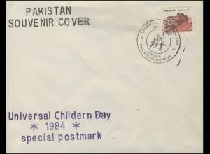 Pakistan: Souvenir Cover Universial Cheldren Day 1984, SSt Lahore 1984