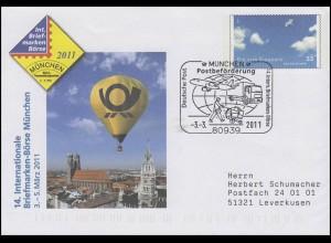 USo 232 München & Die vier Elemente Luft FDC ESSt München Postbeförderung 3.3.11