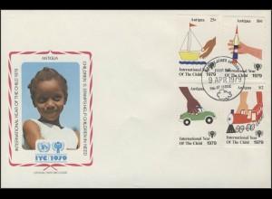 Antigua: Spielzeug Schiff Auto Eisenbahn, 4 Werte + 1 Block auf 2 Schmuck-FDC